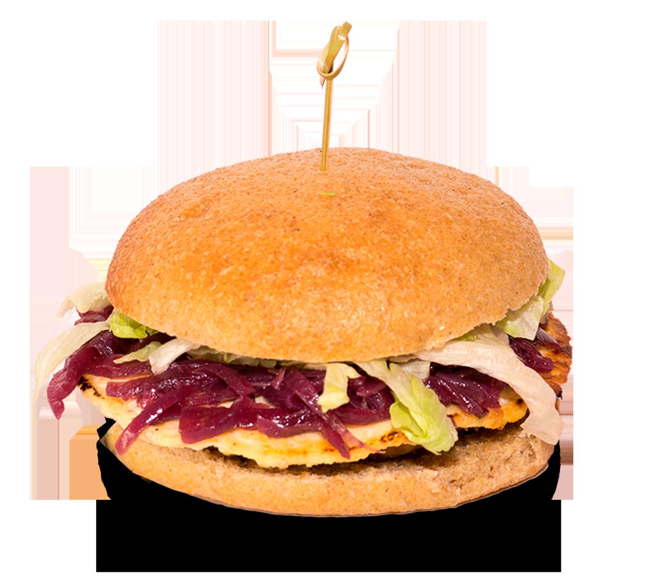 Circle, panino con Hamburger di bovino e suino, olio, ricotta fresca, cipolla in agrodolce e lattuga.