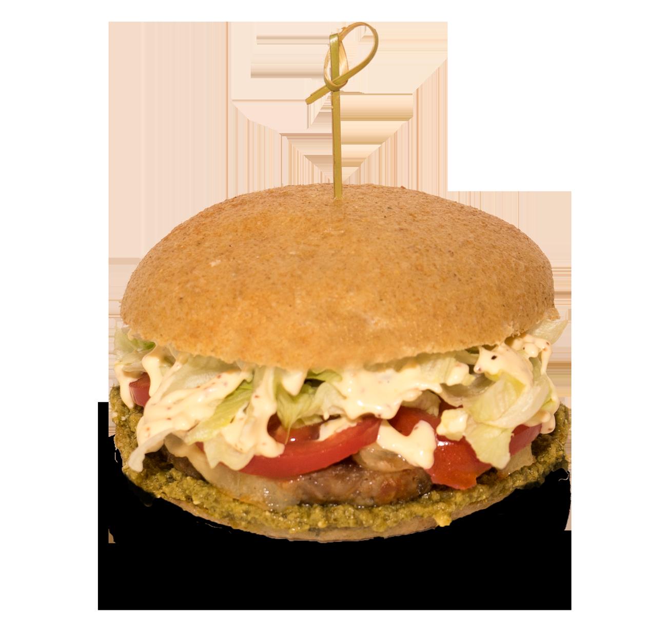 Cube, panino con hamburger di bovino e suino, pesto di basilico con olio e.v.o, pomodoro, lattuga e provola, maionese alla senape.