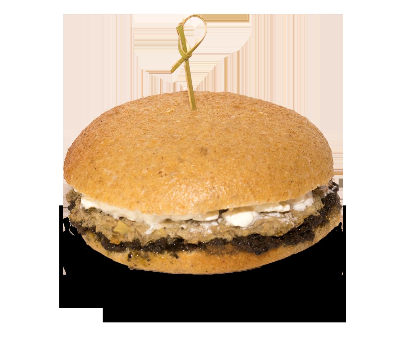 Decagon, panino con hamburger di carciofi, patè di olive e stracciatella di bufala.