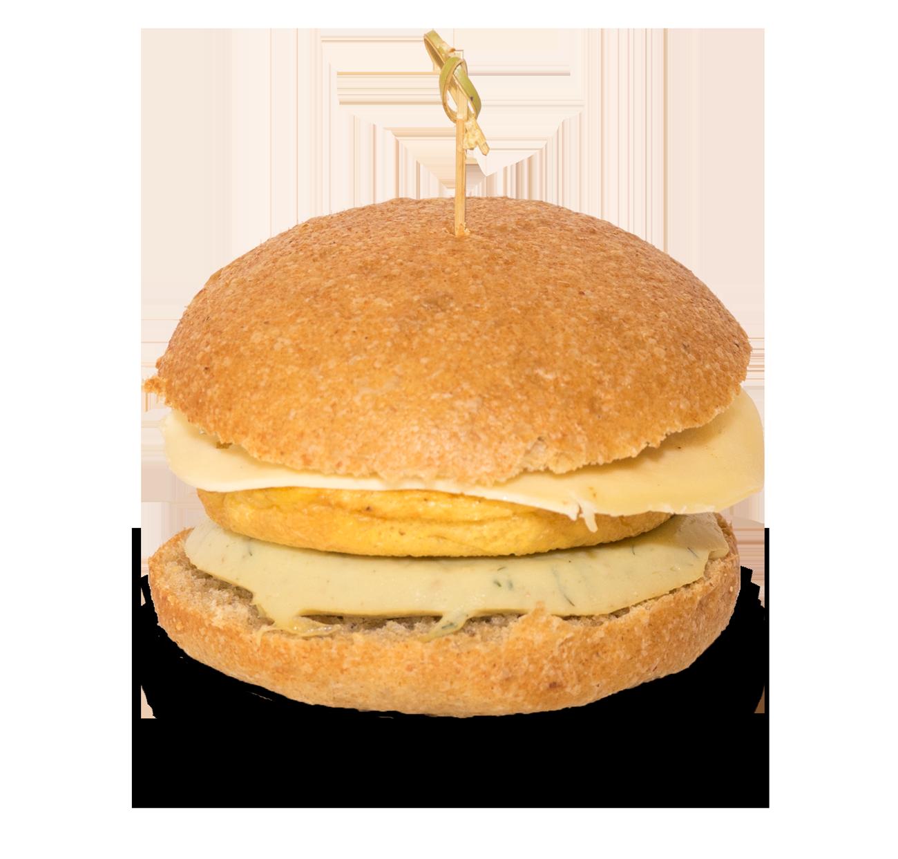 Heptagon, panino con hamburger di piciocia, uovo omelette e provola.