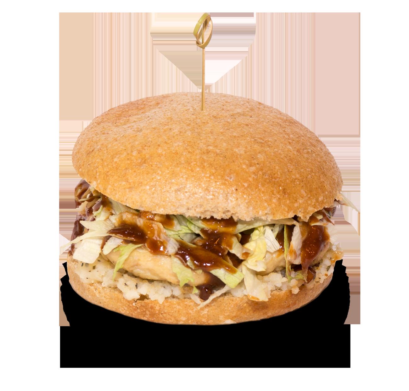 Octagon, panino con hamburger di pollo, patata schiacciata, lattuga e salsa BBQ.