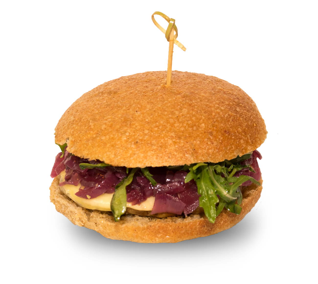 Pentagon, panino con hamburger di cavallo, cipolla in agrodolce cotta, provola e rucola, salsa vinegrette.